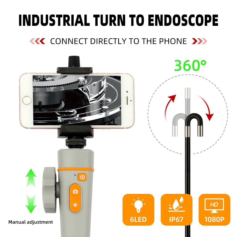 Promo Industrial Video Endoscope Camera 8MM 1080P WIFI 360 Steering Wireless Car Sewer Drain Inspection Borescope for Android Iphone