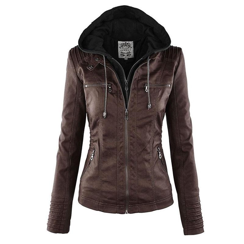 Faux Leather Jacket Women 2019 Basic Jacket Coat Female Winter Motorcycle Jacket Faux Leather PU Plu