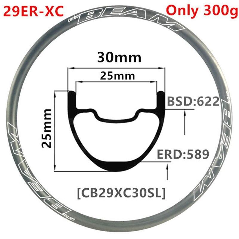 [CBZ29XC30SL25] 305g 30x25mm 29er vtt carbone jante 30mm largeur 25mm profondeur 29er vtt roue XC sans crochet Tubeless 29er carbone vtt jantes