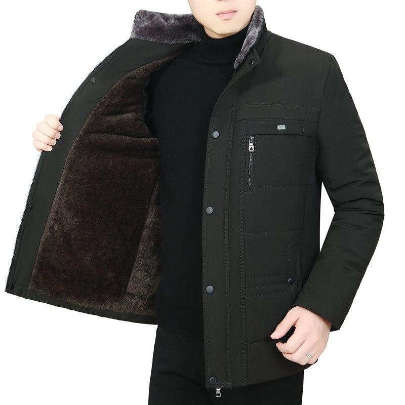 Parkas de invierno para hombre gruesas cálidas forro polar acolchado capa básica hombre azul marino Verde Negro soporte Cuello acolchado Puff prendas de vestir exteriores