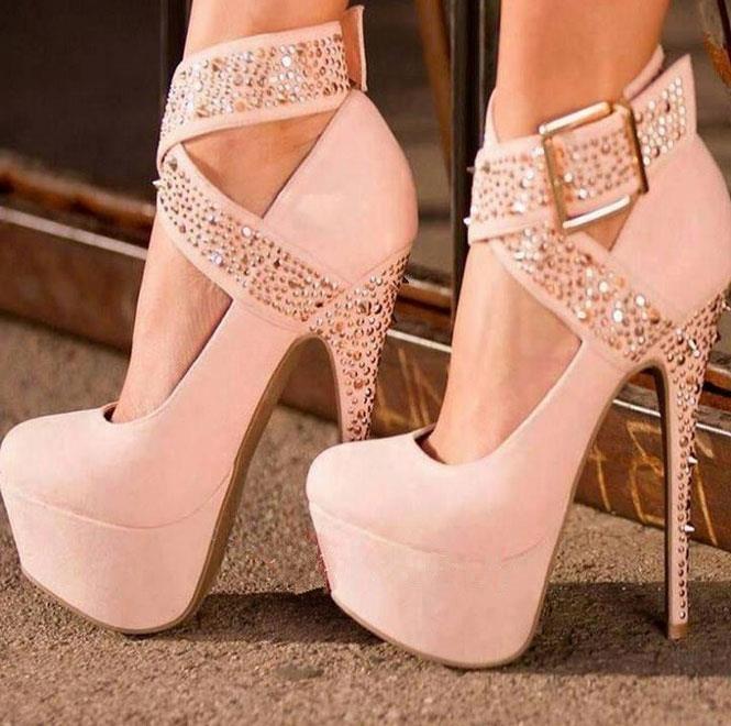 المرأة عالية الكعب مضخات ، الكعب العالي السوبر ، 16 سنتيمتر الوردي برشام و الماس مع المألوف مثير عالية الكعب ، أحذية كبيرة