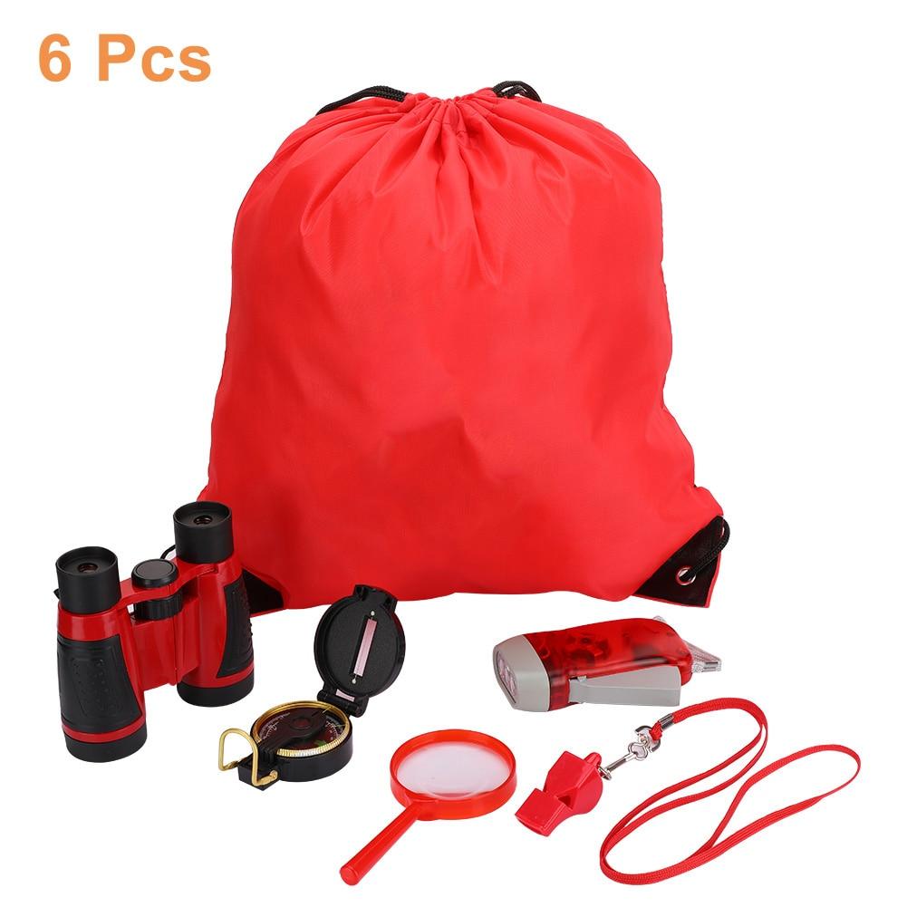 6-em-1 kit de expedição ao ar livre júnior binóculos manivela led lanterna lensatic bússola adequado para 3 idade acima das crianças