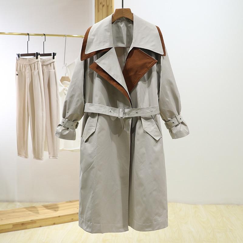 سترة واقية من الرياح بطوق مزدوج اللون ضرب سترة واقية نسائية جديدة عالية الخصر بأربطة ملابس للخريف ذات تصميم أنيق
