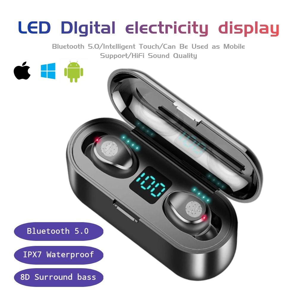 TWS Bluetooth 5.0 Earphones Wireless Headphone 9DStereo Noise Reductio Sports Waterproof Mini Stereo