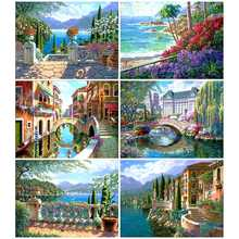 HUACAN Landscape Diamond Painting Full Square 5D Diamond Art Embroidery Bridge Cross Stitch Home Decoration