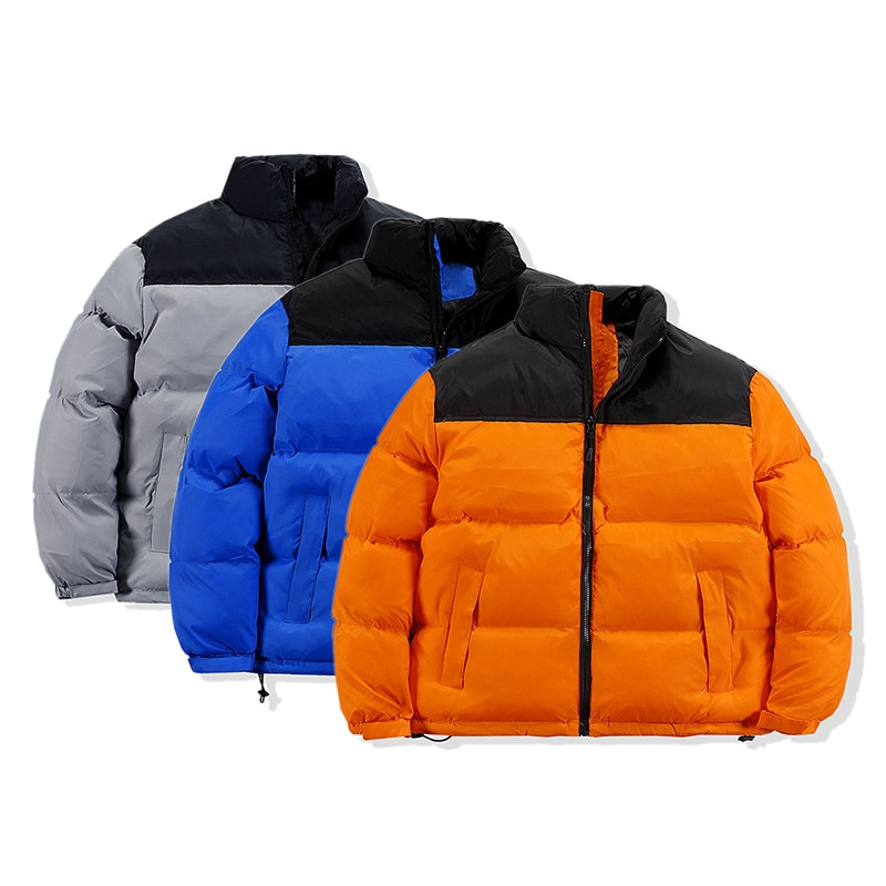 Winter new brand coat color matching couple casual cotton coat men and women stand-up collar pocket warm down jacket color matching striped snap button up jacket