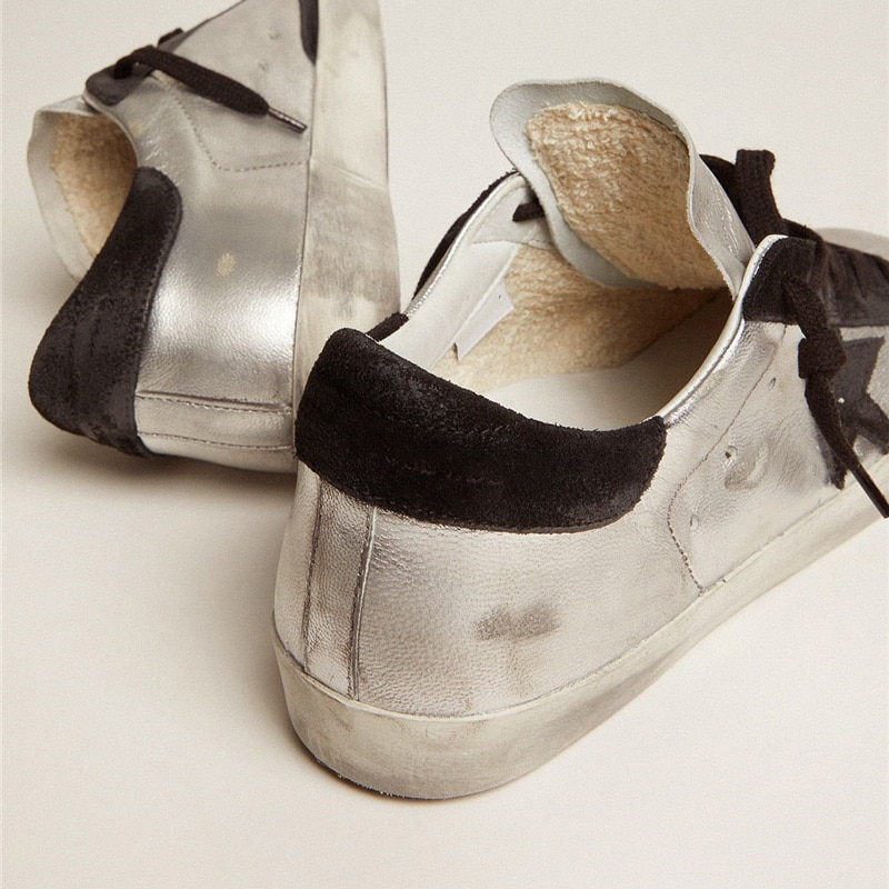 2021 Autumn and Winter New Silver Patent Leather Retro Old Small Dirty Parent-child Shoes Casual All-match Children's Shoes QZ63 enlarge