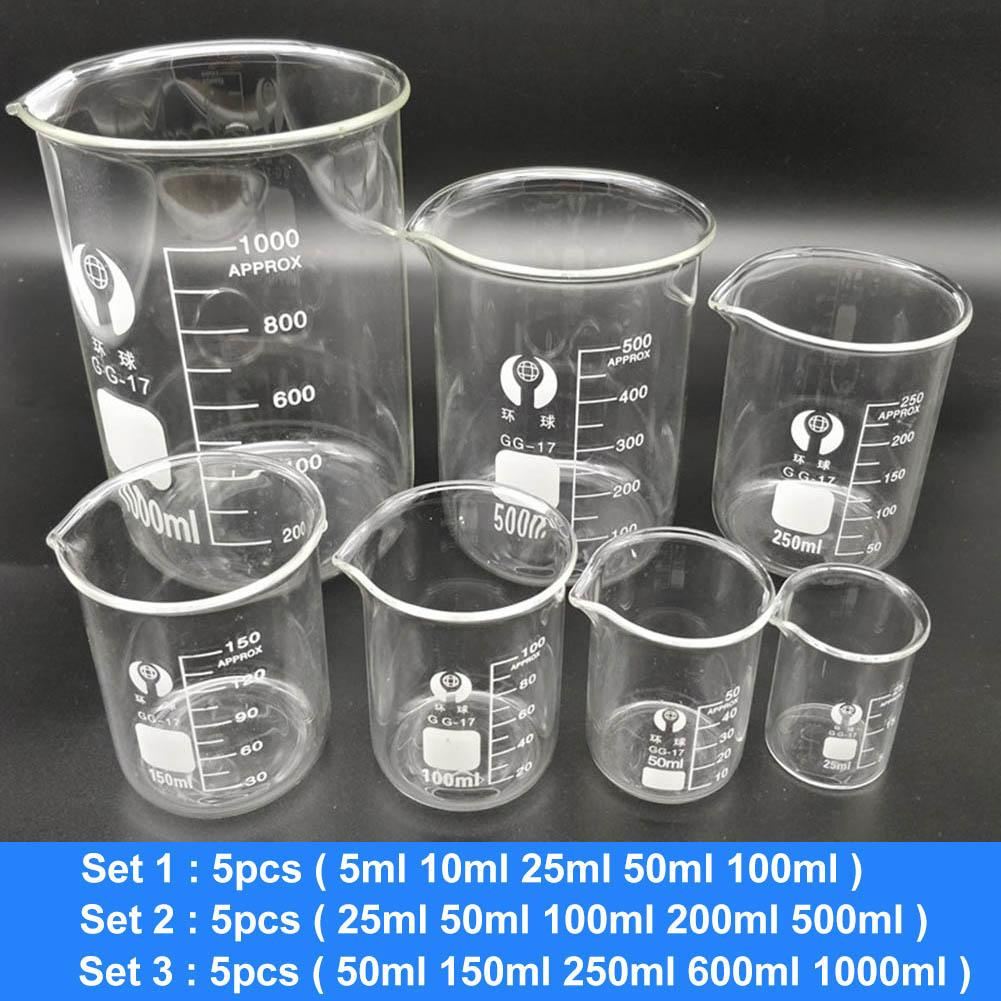 5Pcs Lab Chemical Experiment Equipment Clear Low Form Borosilicate Glass Beakers 2020