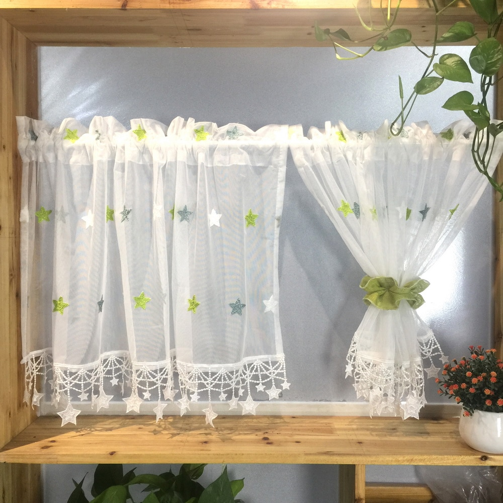 1 PC Rod Pocket Sheer Tier Curtain Valance for Kitchen Bathroom Cabinet Cafe Green Star Embroidery Lace Bottom Drapes M065C