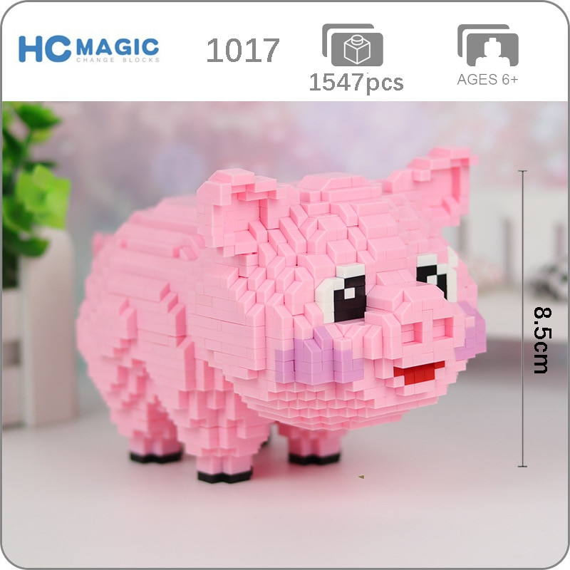 HC 1017 Cartoon Pink Cute Pig Swine Animal Pet 3D Model 1547pcs DIY Diamond Mini Building Small Blocks Brick Assembly Toy no Box