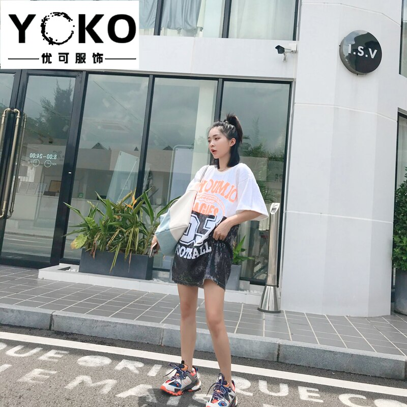 YOKO mujeres vestido lentejuelas camiseta negro vestido ajustado cuello redondo suelto más tamaño camiseta alfanumérica moda club fiesta corto manga