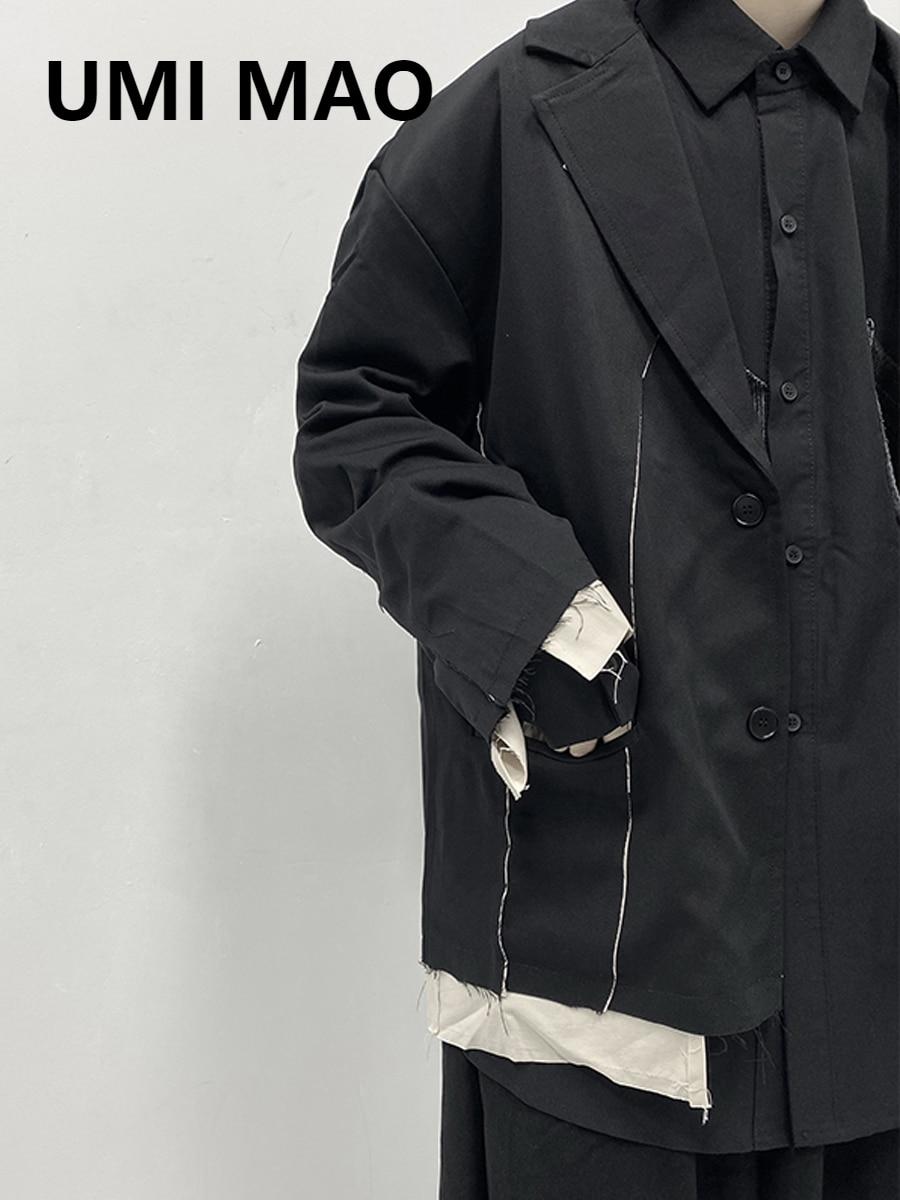 UMI MAO Abstinence Series Men's Dark Black Mountain Original Style Fake Two-piece Raw-edge Suit Suit Jacket Men's Jacket Trend