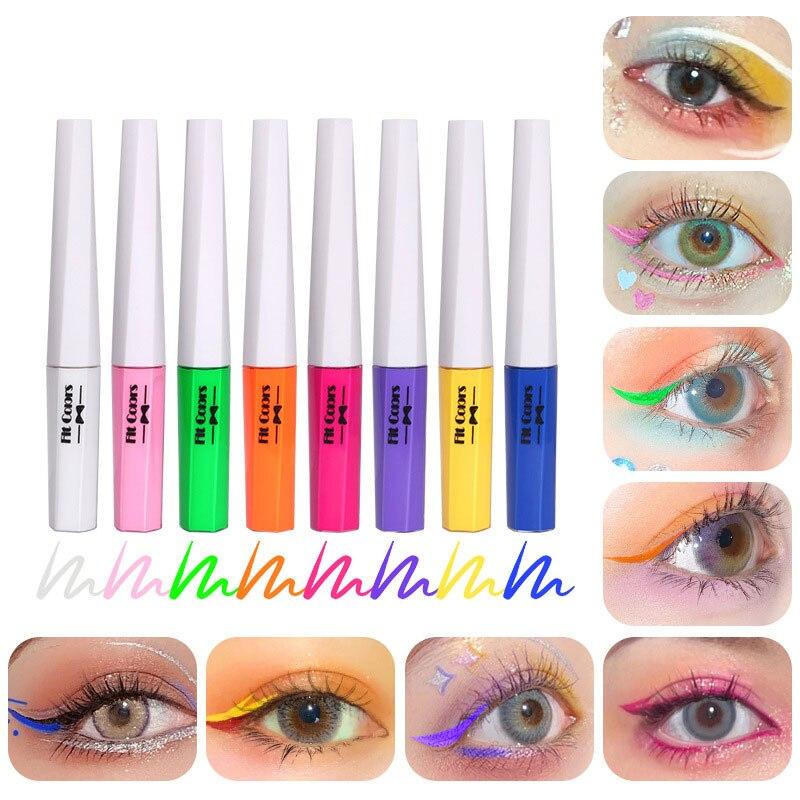 Фото - 8 цветов неоновая жидкая подводка для глаз карандаш водостойкая флуоресцентная красочная светящаяся подводка для глаз карандаш для женщин ... nyx карандаш для глаз