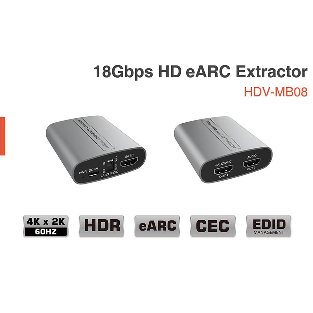 Audio Extractor 18Gbps 4K HDMI-Compatible 2.0b HDCP 2.3/1.x Stereo Audio Output Splitter For EARC Adaptador Amplifier Soundbar enlarge
