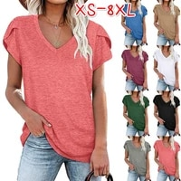 women solid color v neck t shirt 2021 summer casual short sleeve blouses shirts female basic tees loose tops plus size clothing
