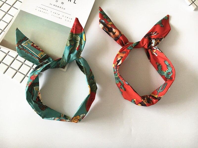 50s mujeres diadema vintage rockabilly pin up de la Isla de Pascua patrón diadema pelo diademas accesorios arco de alambre de orejas de conejo