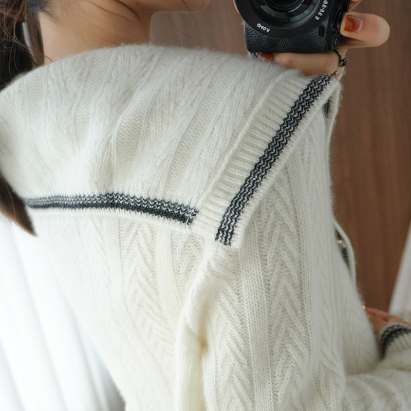 2021 autumn and winter new high-neck comfortable small fragrant navy wool cardigan simple loose atmosphere cashmere sweater enlarge