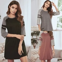 nightdress womens sexy home casual new nightgown in spring summer sexy nightwear patchwork round neck above knee mini