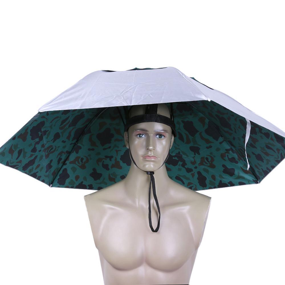 Outdoor Foldable Head Umbrella Hat Anti-Rain Anti-UV Fishing Caps Portable Travel Hiking Beach Fishi