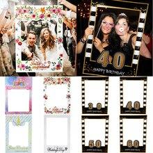 1 pieza de accesorios de marco de cabina de fotos para 1st 21th 30th 40th 60th Kids adultos cumpleaños Photo Prop suministros decoración de unicornios de fiesta de boda