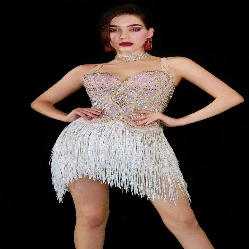 V6 mulheres executar pole dance borlas vestido de strass latino saia pérola cristal outfit traje de salão passarela bar festa wear
