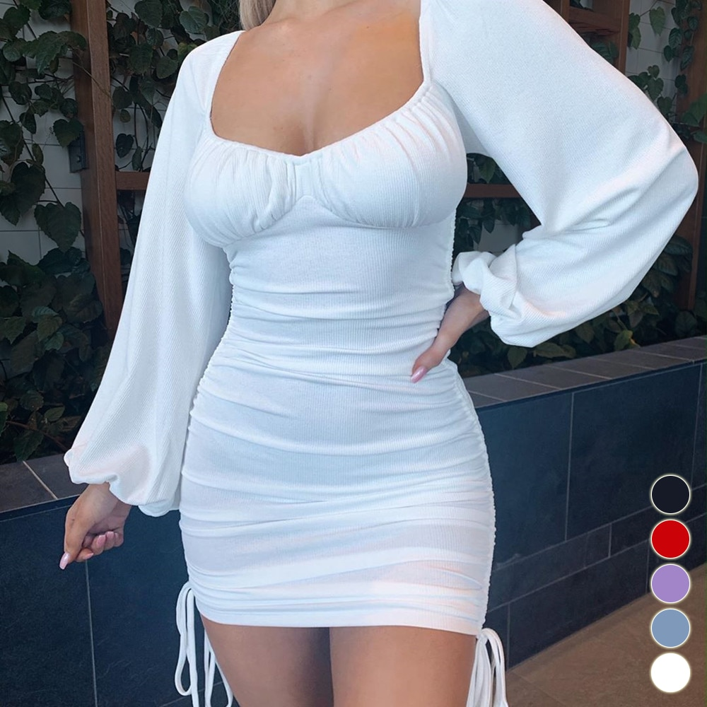 White Long Sleeve Bodycon Dress Women Summer Off Shoulder Sexy Mini Dress Drawstring Ruched Puff Sleeve Short Party Dress Black