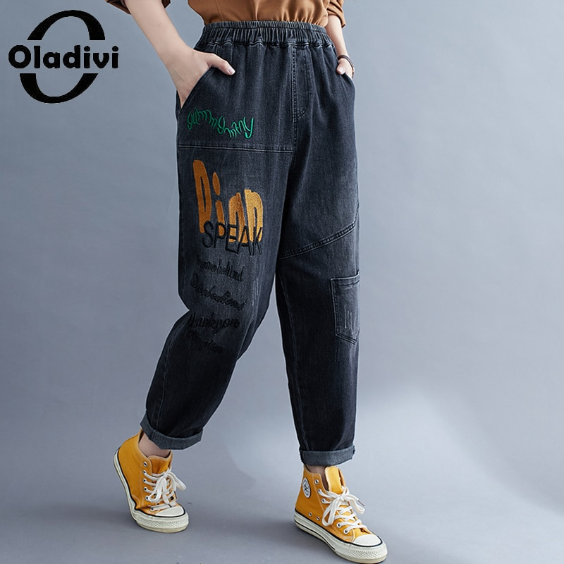 Oladivi المتضخم المرأة عادية فضفاض مرونة الخصر الجينز واسعة الساق الحريم الدينيم بانت كابريك 2021 خريف جديد بنطلون أسود أزرق 8005