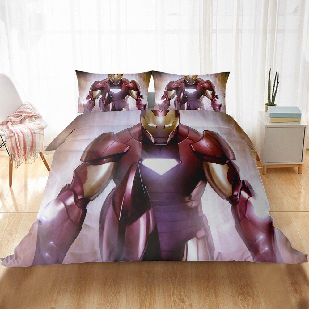 Home Textile Disney Marvel Avengers 3D-printed Bedding Set Red Iron Man Duvet Bed Cover Pillowcase Boys Bedroom Decoration