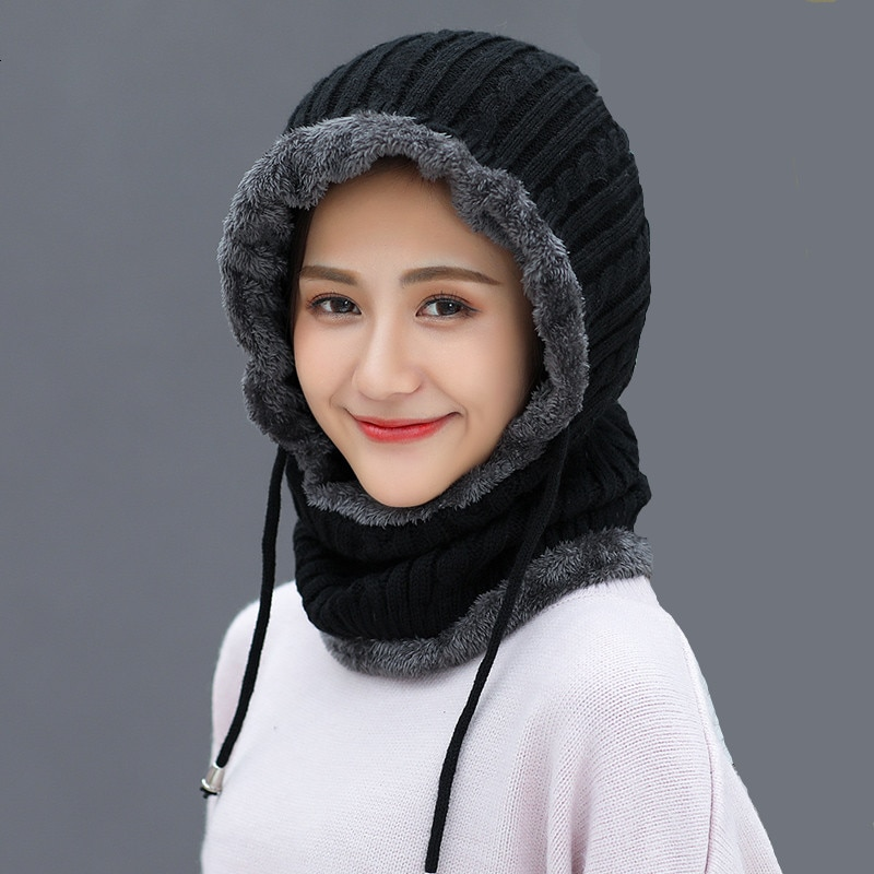 Simple Woman Skullies Beanies Riding Windproof Mask Ear Protect Balaclava Winter Hats For Women Thic