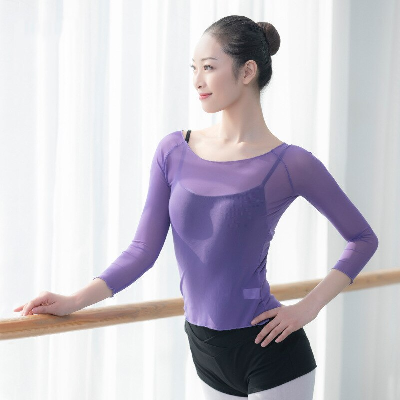 women sports tops dance T shirt dance wear ballerina ballet mesh tops yoga long sleeve tops sportswear women fitness gym tops