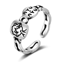 sweet little boy letter personality 925 sterling silver lady finger party open ring promotion wedding gift drop shipping