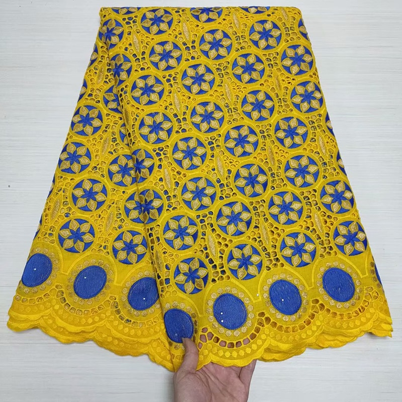 Yellow Pure Cotton Swiss Voile Lace Fabric Nigerian Wedding Party Dress In Switzerland High Quality African Dry Sew Materials