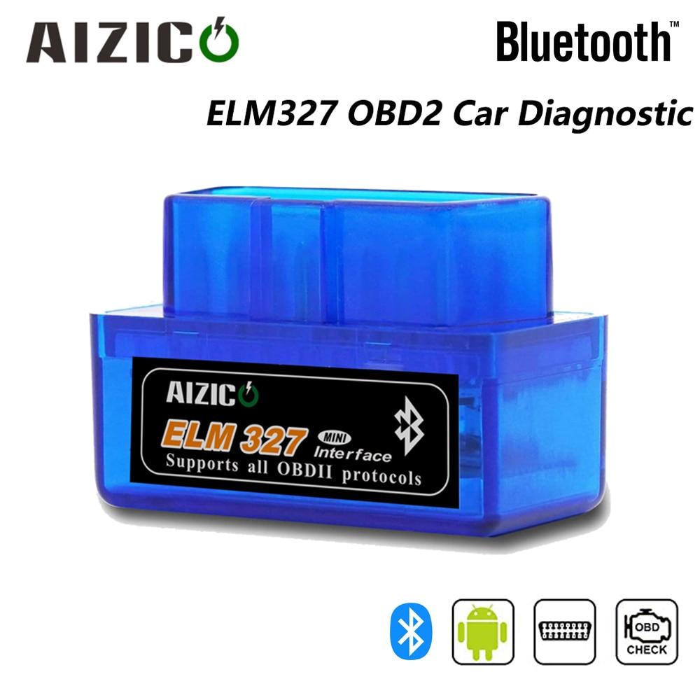 AIZICO ELM327 Bluetooth V2.1 elm 327 для Android Крутящий момент Поддержка автомобильный диагностический сканер универсальный OBDII код читателя