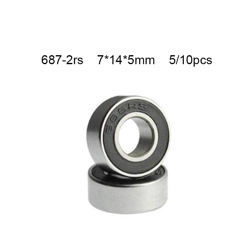 Sellado rodamiento rígido de bolas de goma 687 687RS 7x14x5 MINI miniatura de acero 10 Uds 687-2RS 7*14*5 Mm 10*10*5cm libre de China