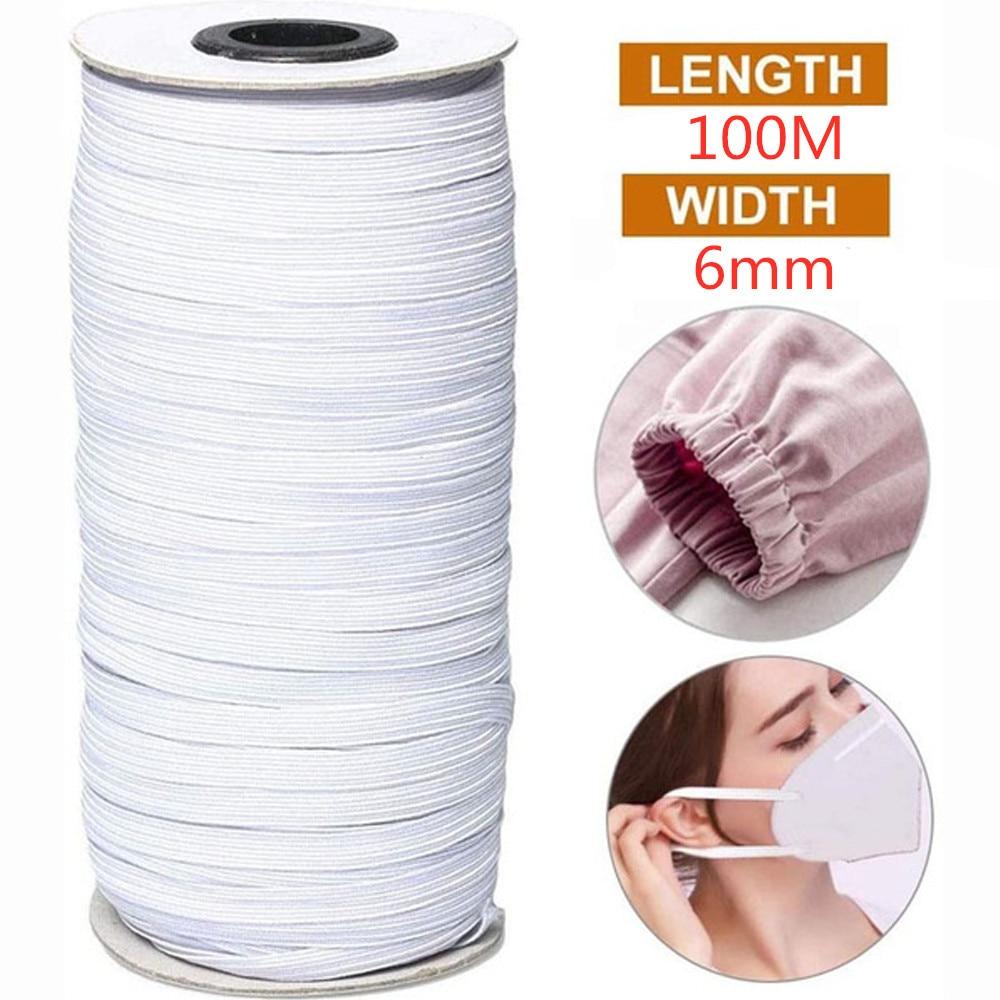 6MM 100M Elastic Band Masks White High Elastic Flat Rubber Band Waist Band Sewing Stretch Rope DIY Mask Accessory