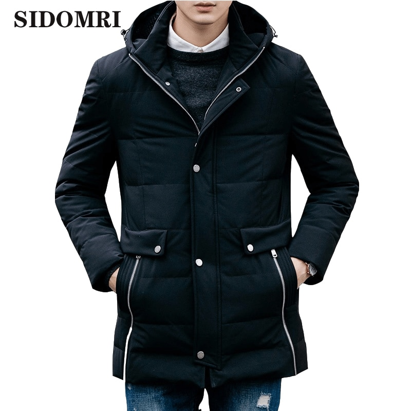 Down jacket for men 80% white duck down medium and long style slim and thick coat for men  new style high qualiaty