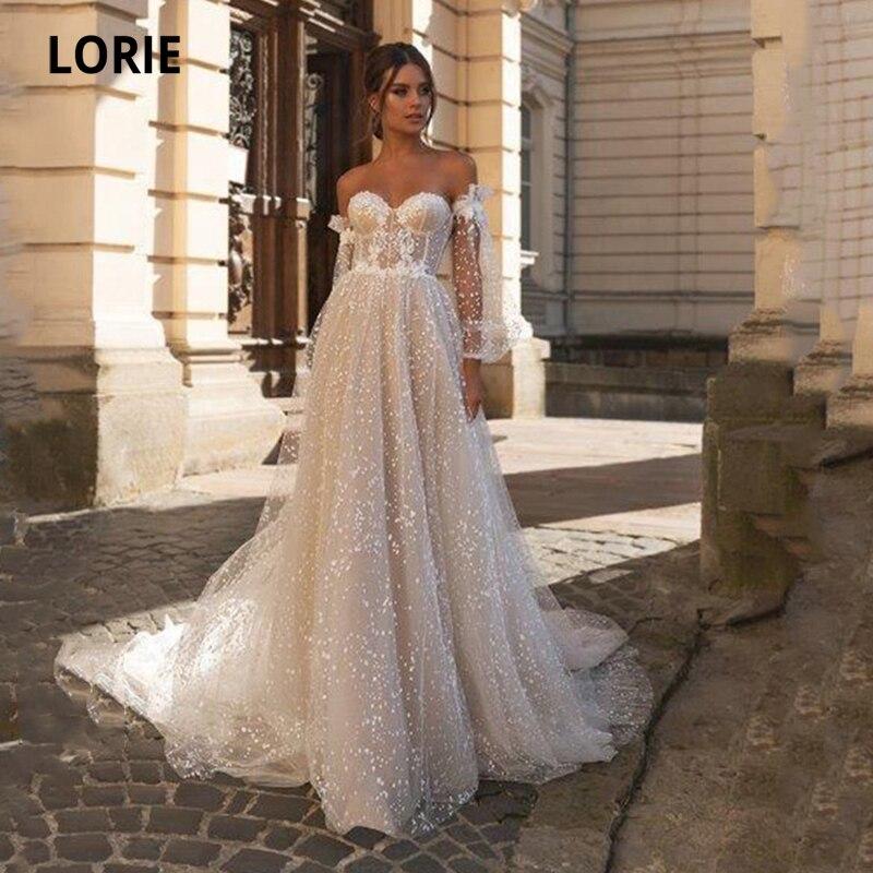 LORIE Glitter Wedding Dresses Puff Sleeves Off Shoulder Long Train Custom Made Boho Wedding Gown Bri