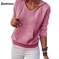 cashiona women elegant leisure casual t shirt model pockets lady pink gray womens top hoodies 2020 autumn shirt clothing femme