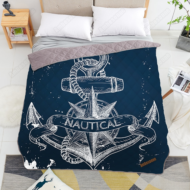 Print on Demand Anchors Design Printed Home Cover Quilt Queen Size Kids Adult Blankets for Beds Soft Sofa Outdoor Camping Quilts