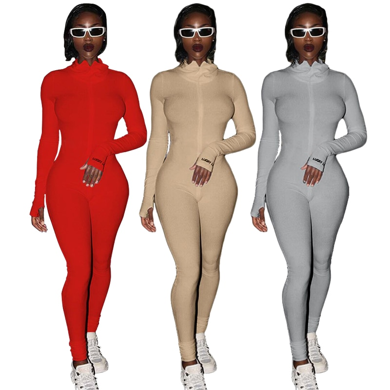Streetwear White Knitted Sexy Bodycon Lucky Label Jumpsuit Women Overall Long Sleeve Skinny Rompers Womens Jumpsuit Female 2021