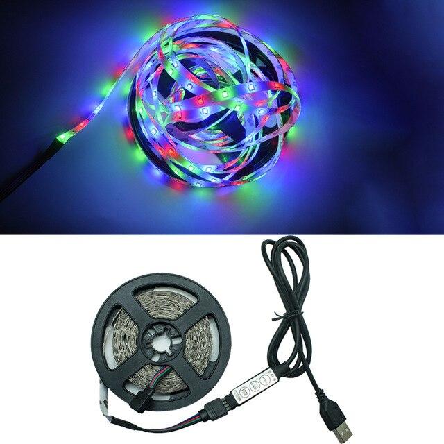 Светодиодные ленты светильник RGB 2835 Гибкая лампа лента диод usb-кабель 3 ключа Управление DC5V м, 1 м, 2 м, 3 м, 4 м, 5 м стол Экран ТВ фон светильник Инж   Лампы и освещение   АлиЭкспресс