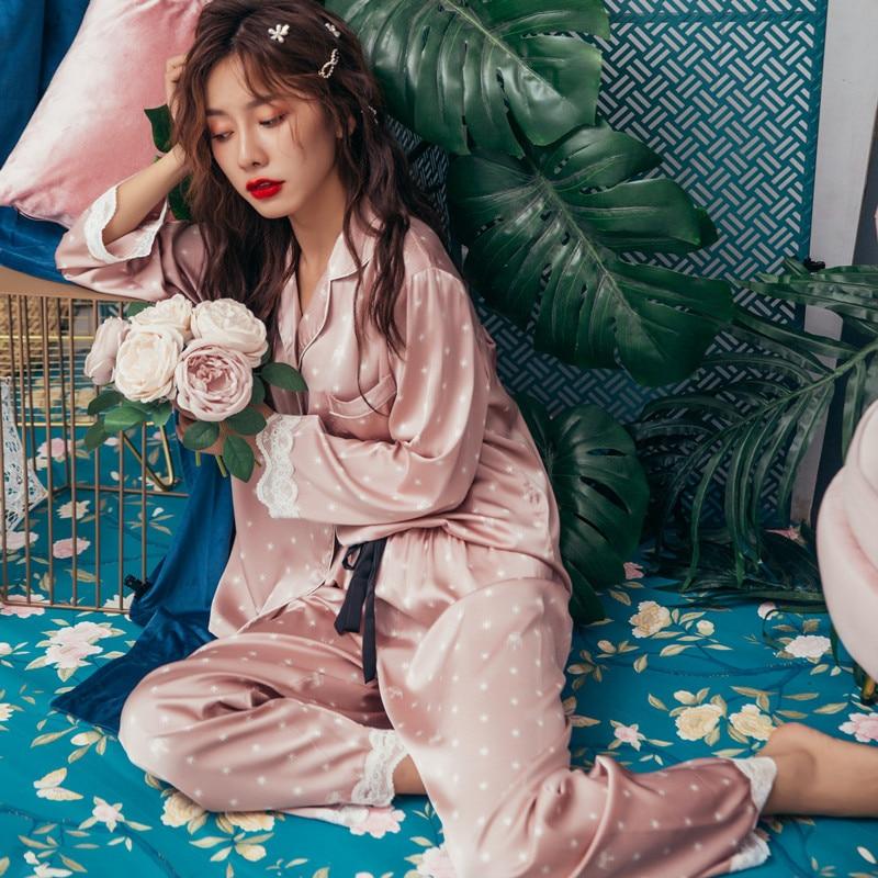 Lisacmvpnel Print Fashion Women Pajama Set Sweet Lace Cuff Trousers Long Sleeve Suit Pyjamas