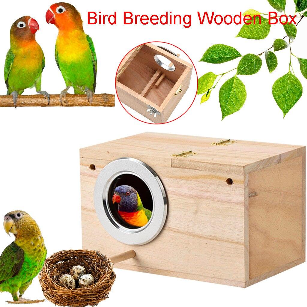 Hamaca para loro, pájaro, cama colgante, casa, nido de periquito, caja para cría de pájaros, caja de madera para aparejos de pájaros amorosos, caja de acoplamiento