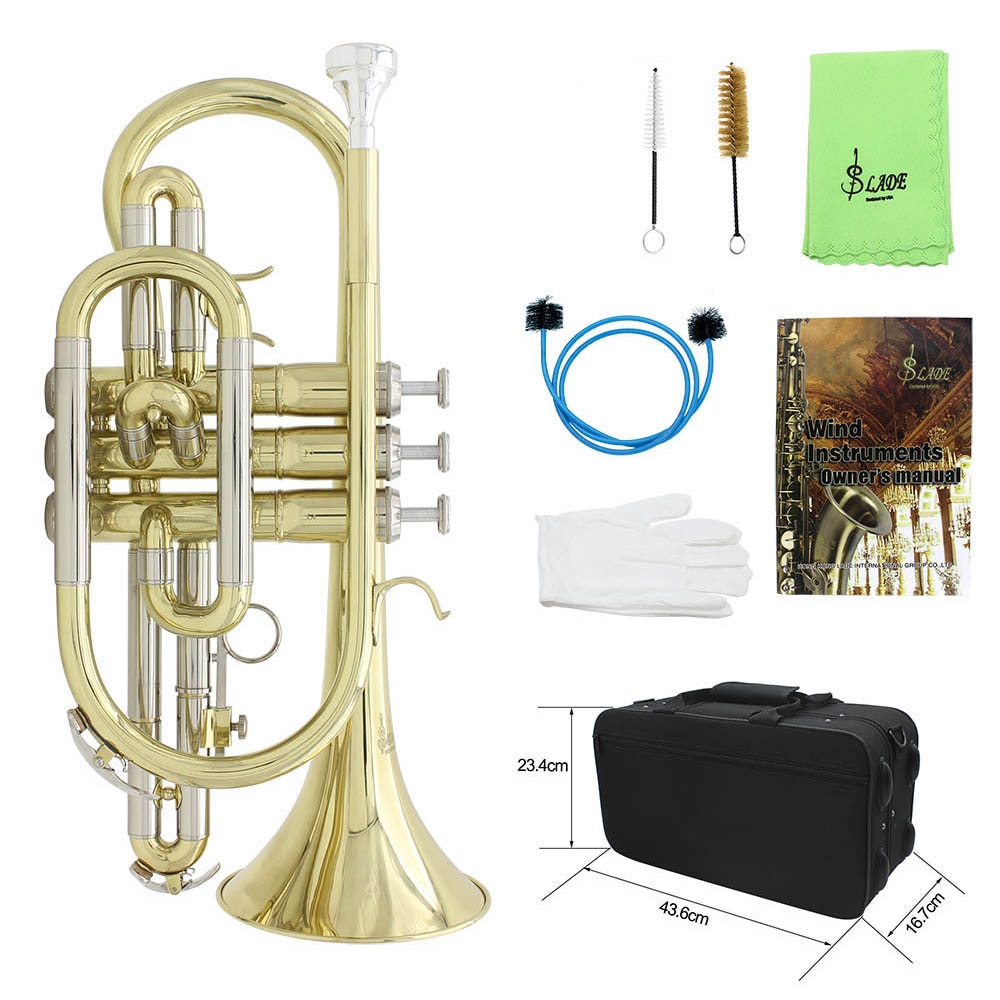 M MBAT Professional Bb Flat Cornet Gold-Plated Two-Color Cornet Brass Instrument With Carrying Case Gloves Cleaning Cloth Brush enlarge