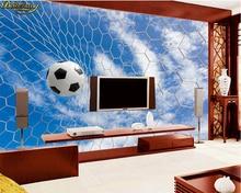 Beibehang-autocollant Mural bleu ciel blanc   Photo personnalisée, papier peint 3d, filet de Football en nuage Texture 3D Football, mur de fond de télévision
