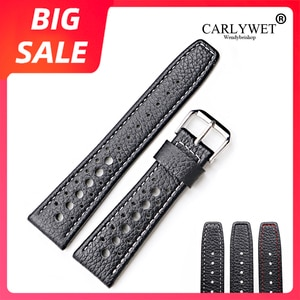 CARLYWET 20 22mm Top Quality Real Leather Replacement Wrist Watch Band Strap Belt With Silver Black Clasp For Tag Heuer IWC