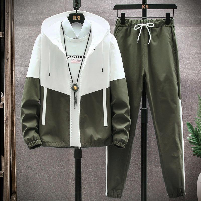 ملابس رياضية رجالية عادية هوديس مجموعات 2021 ربيع جديد ذكر جاكيتات + السراويل قطعتين مجموعات الهيب هوب الشارع الشهير الرياضة البدلة المرقعة