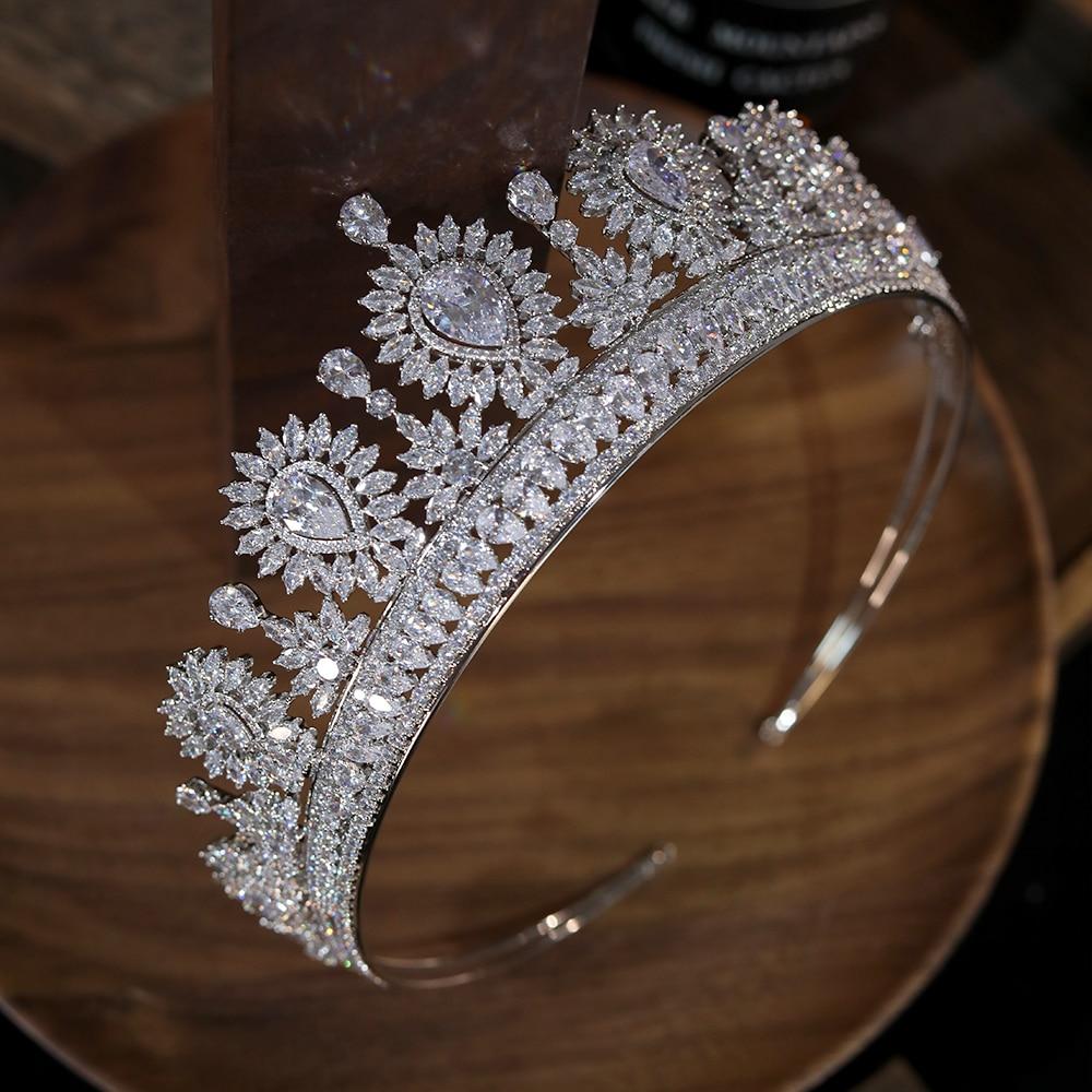 European Big Zircon Water Drop Tiaras Bridal Crown Shiny Crystal Headdress Wedding Hair Accessories Prom Jewelry Gifts