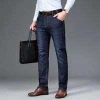 mens classic relaxed fit flex jean 2021 spring autumn new four seasons high waist business casual black blue denim trousers