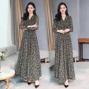 Houthion Women's Dresses Pint Long Dress Loose Plus Size Bohemia New Draw Back Casual Fashion Chiffon A-LINE Mid-Calf V-Neck